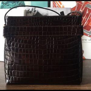 Vintage Ferragamo dark brown crocodile bag